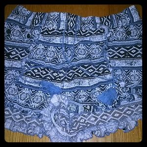 Blue Aztec Print Shorts